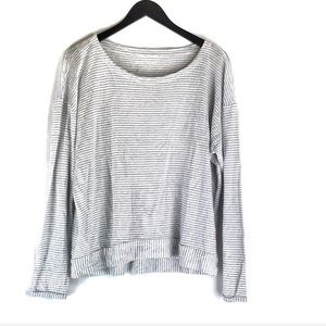 Eileen Fisher Grey Stripe Long Sleeve Top